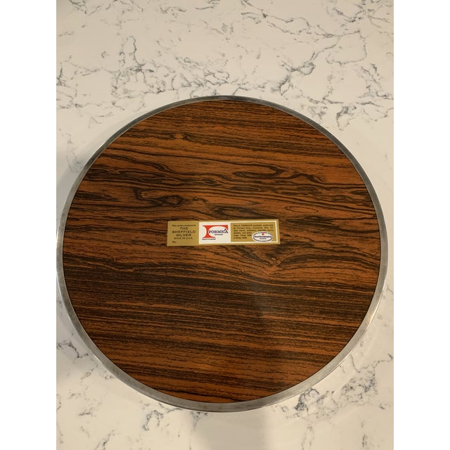 Metal Mid 20th Century Vintage Sheffield Silverplate & Rosewood Formica Serving Tray For Sale - Image 7 of 10