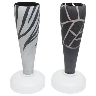Pair of Italian Murano Mazzega Intaglio Etched Glass Table Lamps Vintage For Sale