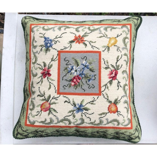 1990s Needlepoint Fruit Pillow For Sale - Image 5 of 5