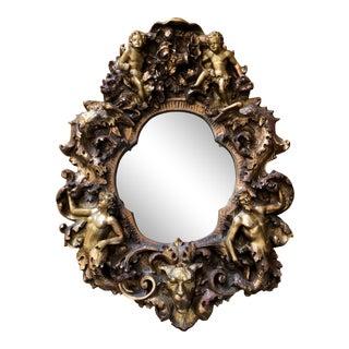 Vintage Finesse Originals Adam & Eve Cherubs Figural Gilt Wall Mirror For Sale