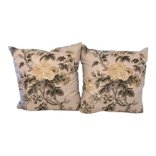 Gray Floral Pillows - A Pair For Sale
