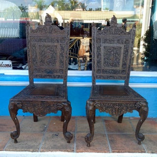 Pair of Elaborately Carved Anglo-Indian Side Chairs Preview