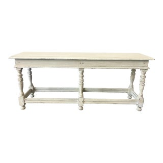 19th C. English Painted Cottage Bench Shabby Chic For Sale