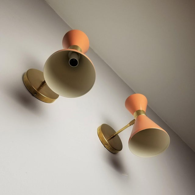 """Italian Modern Brass & Blush Enamel """"Campana"""" Wall Sconces - A Pair For Sale In New York - Image 6 of 10"""