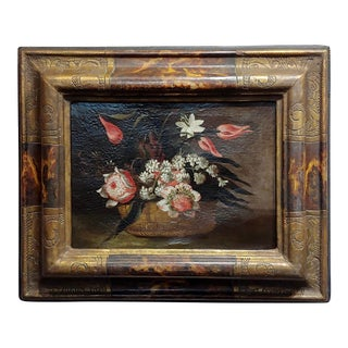 17th Century Italian Still Life of Flowers in a Basket Oil Painting For Sale