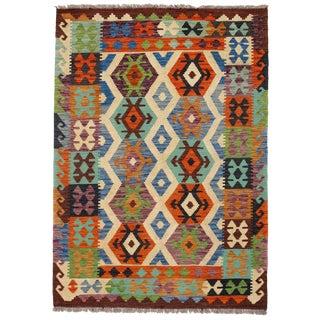 Afghan Kilim Handspun Wool Rug - 4′2″ × 5′9″ For Sale