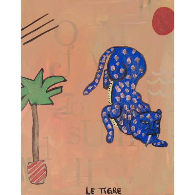 Acrylic original jungle painting by artist Virginia Chamlee. Pink background with abstract shapes, a tiger, and a palm...