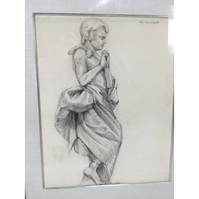 Drawing/Sketching Materials Academy Style Woman in Classical Dress Pencil Drawing For Sale - Image 7 of 11
