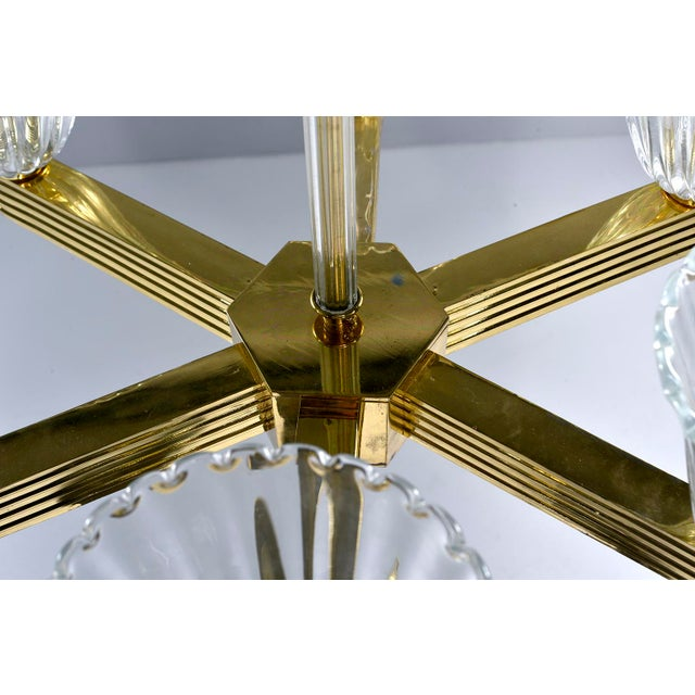 Ercole Barovier and Toso Six Light Brass Chandeliers - a Pair For Sale - Image 10 of 13