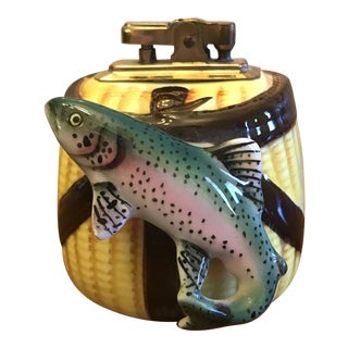 Vintage Fishing Motif Cigarette Lighter For Sale