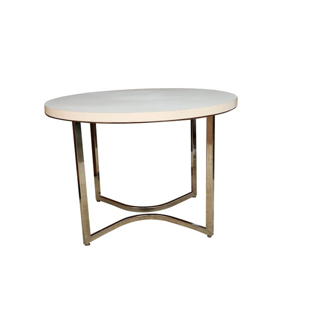 Mid-Century Modern Mid Century Retro Laminate Circular Chrome Base Table For Sale - Image 3 of 10