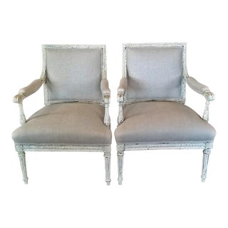 Louis XVI Style Pair of Painted Armchairs For Sale
