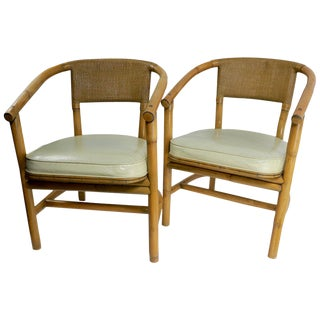 2 Matching Bamboo Arm Chairs Attributed to McGuire For Sale