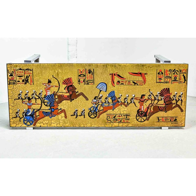 Artistic Mid-Century Belgium Design Egyptian Decorated Coffee Table by De Nisco, 1970s For Sale - Image 6 of 10