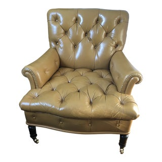 1980s Vintage Tufted Leather Mahogany Library Chair For Sale