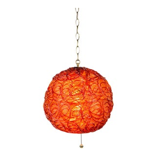 Vintage Mid-Century Modern Red and Orange Spaghetti Swag Pendant Light For Sale