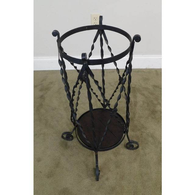 Black Aesthetic Antique Hand Wrought Iron Umbrella Stand For Sale - Image 8 of 13