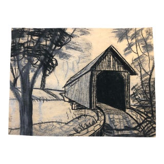 Mixed Media Drawing of a Covered Bridge 1950s For Sale