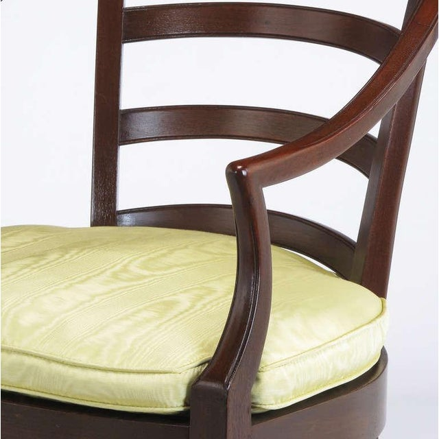 Pair Bert England For Baker Mahogany Barrel Back Arm Chairs - Image 7 of 10