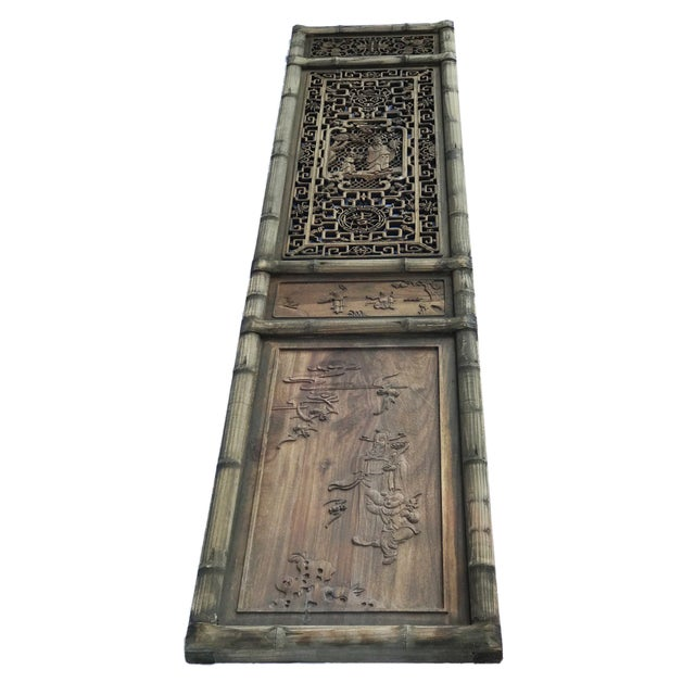 """Brown Old Chinese Hand Carved Wood /Door /Panel 86"""" H For Sale - Image 8 of 9"""