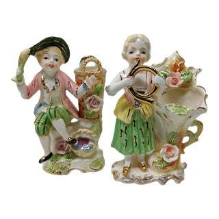 1940s Vintage Tilso Hand Painted Sculpture Vases - a Pair For Sale