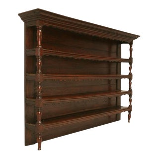 Original 18th C. French Oak & Pine Plate Rack