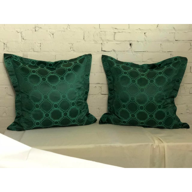 "24"" Square Pair of Jim Thompson Emerald Green Pillows in Asia Major For Sale - Image 9 of 9"