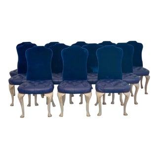 Set of 12 Queen Anne Navy Dining Chairs For Sale