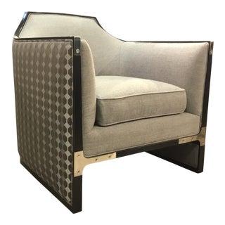 Caracole Modern Custom Simply Put Gray Custom Club Chair For Sale