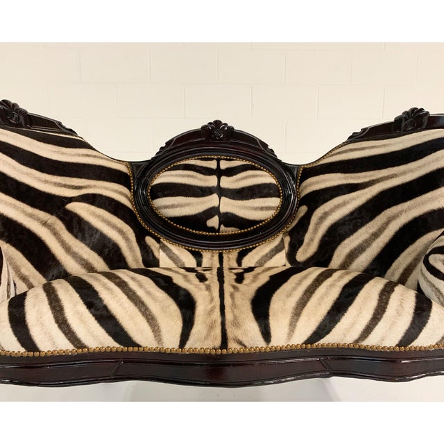 Early 20th Century Antique Settee in Zebra Hide For Sale - Image 5 of 9