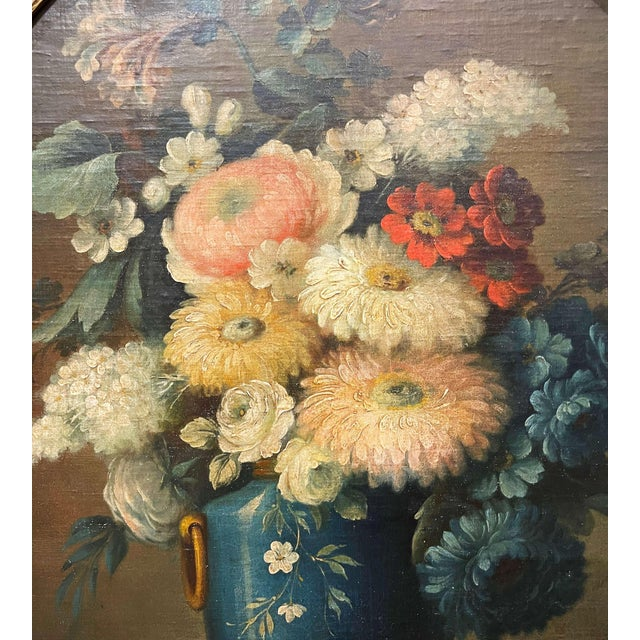 19th Century French Oval Oil on Board Floral Painting in Carved Gilt Frame For Sale - Image 9 of 12