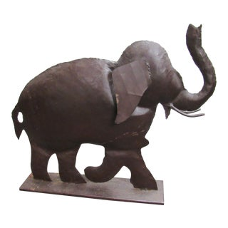 Metal Indoor Outdoor Trunk Up Elephant Statue For Sale