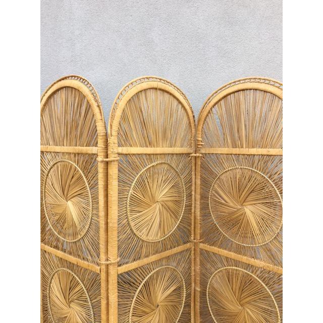 Boho Chic Rattan Tri-Fold Screen For Sale - Image 4 of 6
