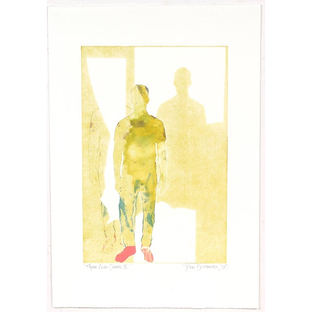 """This 2015 monotype on paper figurative portrait entitled """"Those Pink Sneaks X"""" is by San Francisco artist and Lost Art..."""