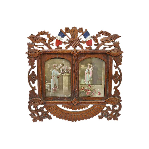 French Hand-Carved Wood Picture Frame - Image 1 of 2