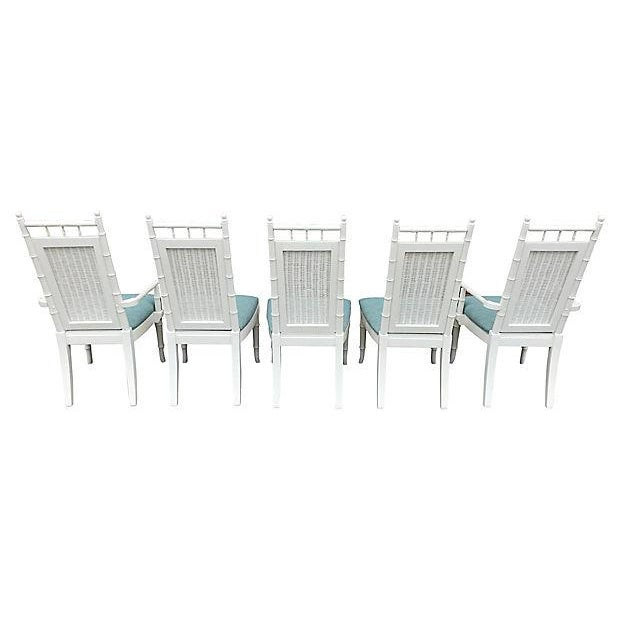 White Lacquered Faux-Bamboo Wicker Back Vintage Dining Chairs - Set of 5 For Sale - Image 11 of 12