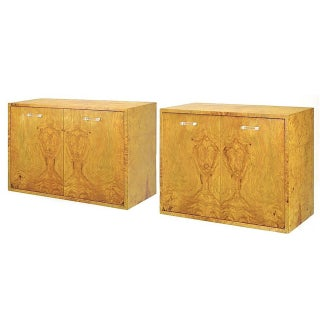 Pair of Milo Baughman for Directional Burled Olive Wall-Mount Cabinets Preview