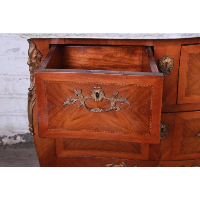 Gold Louis XV Style Inlaid Mahogany Marble Top Nightstands or Commodes, Pair For Sale - Image 8 of 13