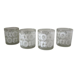 Old Fashioned Drinking Glasses With White Flowers-4 Pieces For Sale