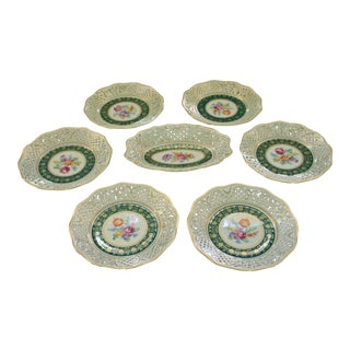 Vintage Lace Edge Plates and Sweetmeat Dish by Schumann - Set of 6 For Sale