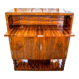 Art Deco Zebra Wood Lacquered Secretary Desk For Sale