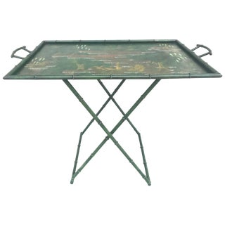 Fabulous 1950s Italian Chinoiserie Tole Faux Bamboo Tray on Stand For Sale