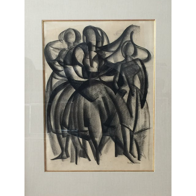 Framed Cubist Charcoal Painting - Image 2 of 6