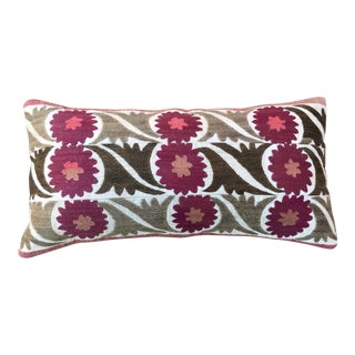 Antique Turkish Suzani Fragment Pillow For Sale