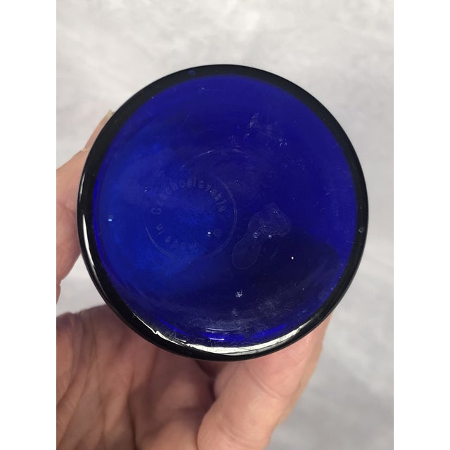 Blue 1930s Art Deco Czechoslovakia Cobalt Blue Glass Vase With Silver Peacock Overlay For Sale - Image 8 of 12