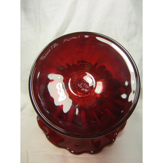 Hand Blown Venetian Ruby Red Fluted Edged Pedestal Bowl For Sale - Image 4 of 6