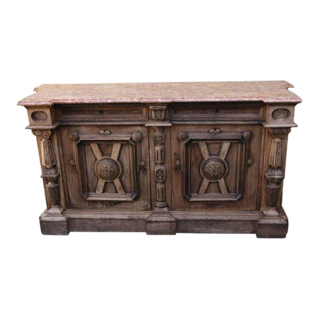 Italian Walnut & Marble Top Credenza - Image 1 of 10