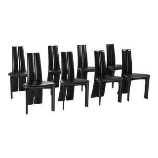 Belgian Postmodern Ebonized Oak Chairs by Van Den Berghe-Pauvers - 1980s For Sale