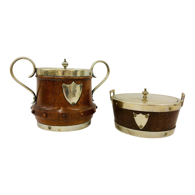 Antique English Oak & Silver Serving Containers - Set of 2 For Sale