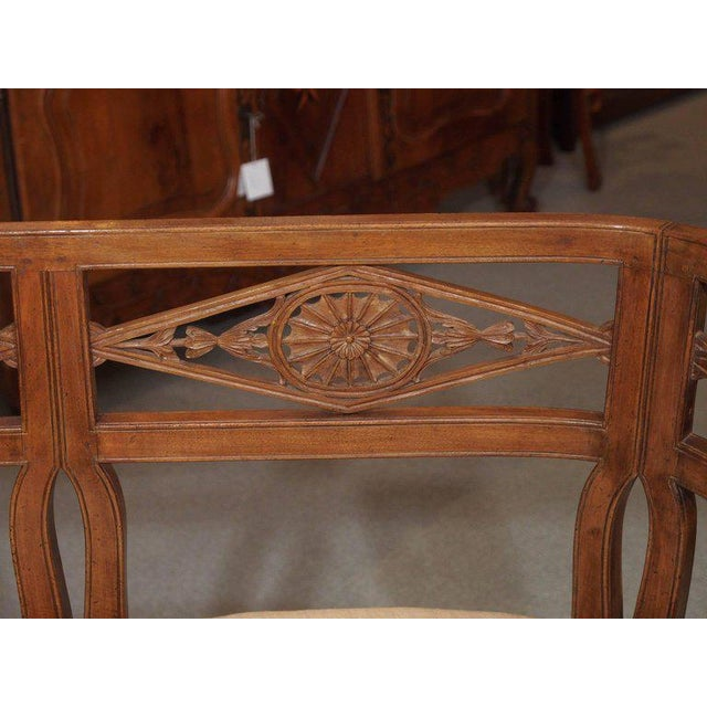 French Antique French Fruitwood Settee, Directoire Style For Sale - Image 3 of 6